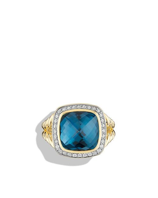 David Yurman | Albion® Ring With Hampton Blue Topaz And Diamonds In 18k Gold | Lyst