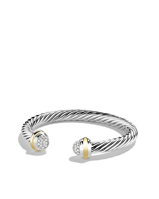 David Yurman - Metallic Cable Classics Bracelet With Diamonds And 18k Gold, 7mm - Lyst