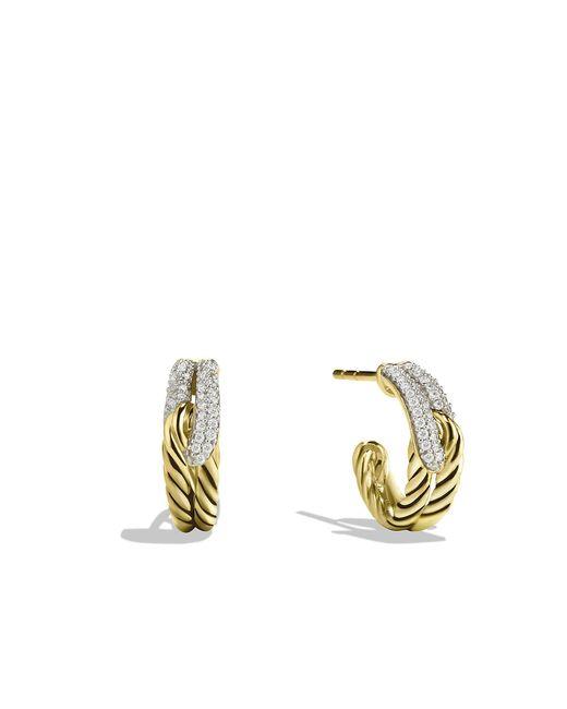 David Yurman - Metallic Labyrinth Huggie Earrings With Diamonds In 18k Gold - Lyst