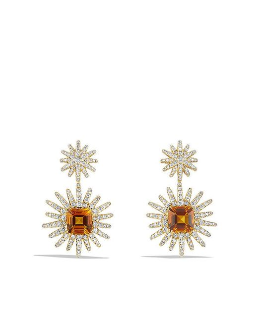 David Yurman | Metallic Starburst Drop Earrings With Madeira Citrine And Diamonds In 18k Gold | Lyst