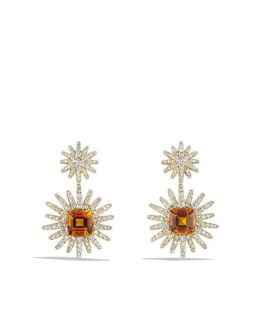 David Yurman | Metallic Starburst Drop Earrings With Madeira Citrine And Diamonds In 18k Gold | Lyst