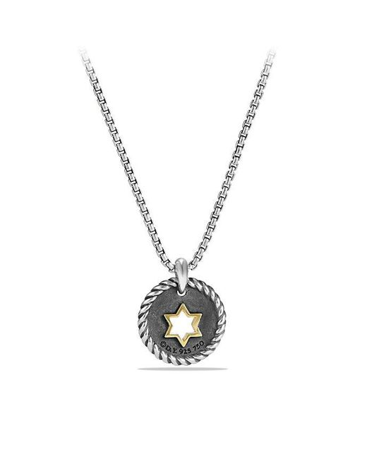David Yurman - Metallic Petite Pave Star Of David Charm Necklace With Diamonds And 18k Gold - Lyst