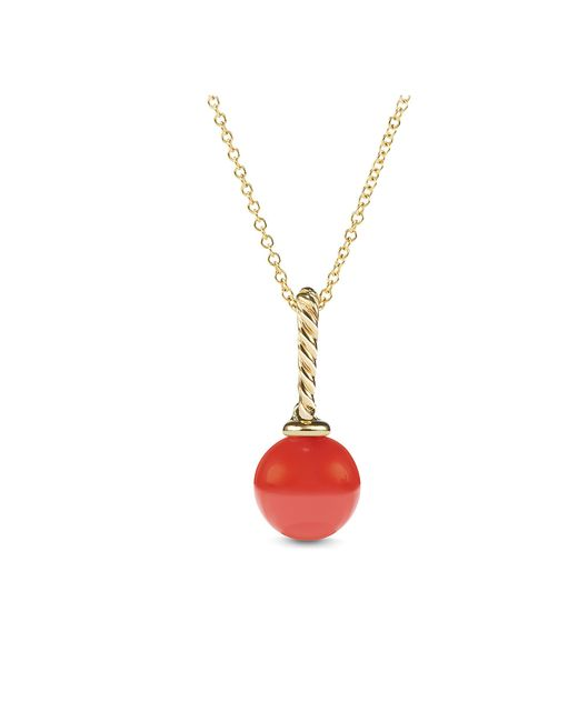 David Yurman - Red Solari Pendant With Carnelian In 18k Gold - Lyst