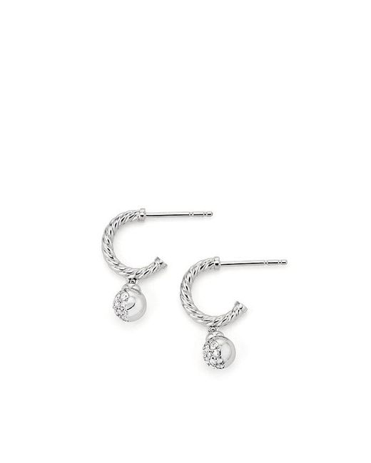 David Yurman - Petite Solari Pave Hoop Earrings With Diamonds In 18k White Gold - Lyst