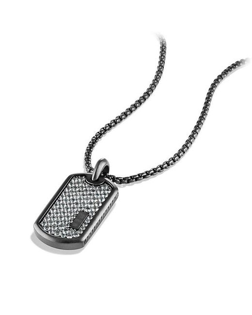 David Yurman - Pavé Tag With Gray Sapphire And Black Titanium - Lyst