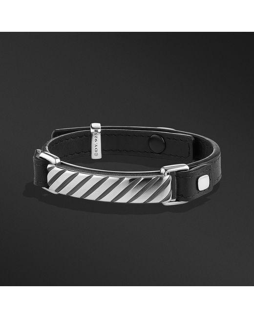 David Yurman - Modern Cable Id Bracelet In Black Leather for Men - Lyst