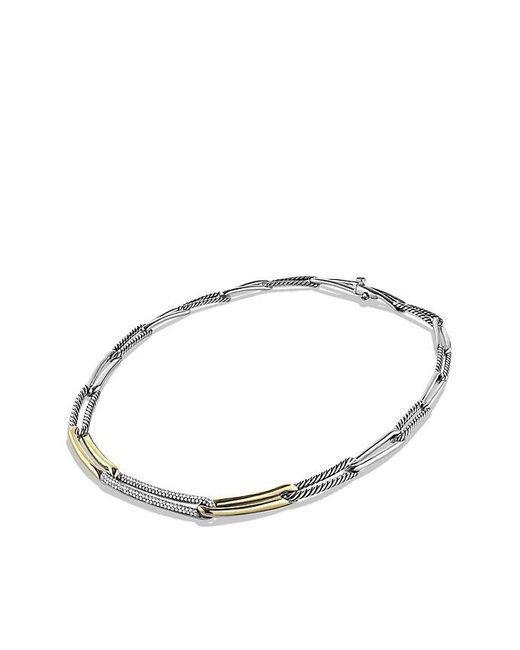 David Yurman | Metallic Labyrinth Link Necklace With Diamonds And 18k Gold | Lyst