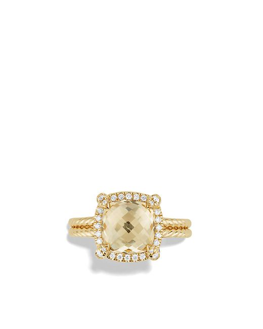 David Yurman | Metallic Châtelaine Pavé Bezel Ring With Champagne Citrine And Diamonds In 18k Gold | Lyst