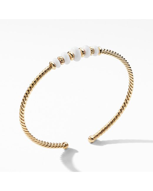 David Yurman - Metallic Rio Rondelle Cabled Cuff Bracelet With White Agate In 18k Gold - Lyst