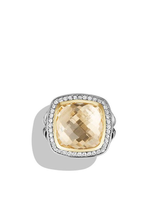 David Yurman | Metallic Albion® Ring With Champagne Citrine And Diamonds With 18k Gold, 14mm | Lyst