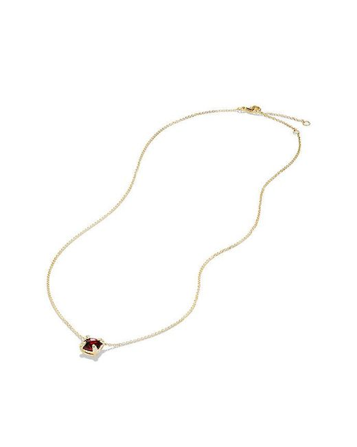 David Yurman - Multicolor Châtelaine Pendant Necklace With Garnet And Diamonds In 18k Gold, 7mm - Lyst