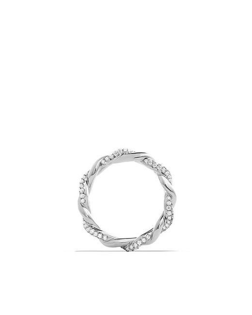 David Yurman - Dy Wisteria Twist Ring With Diamonds In 18k White Gold, 4mm - Lyst