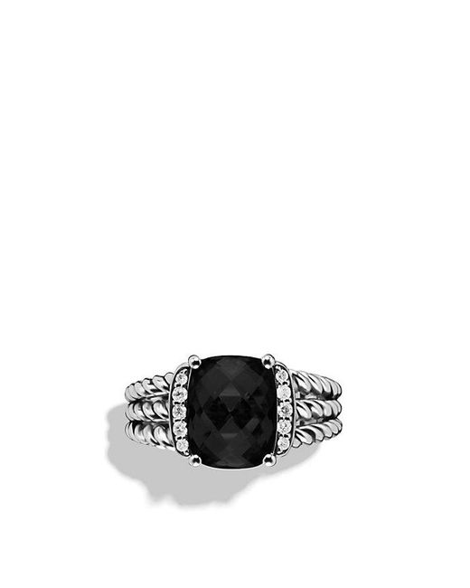 David Yurman - Petite Wheaton Ring With Black Onyx And Diamonds - Lyst