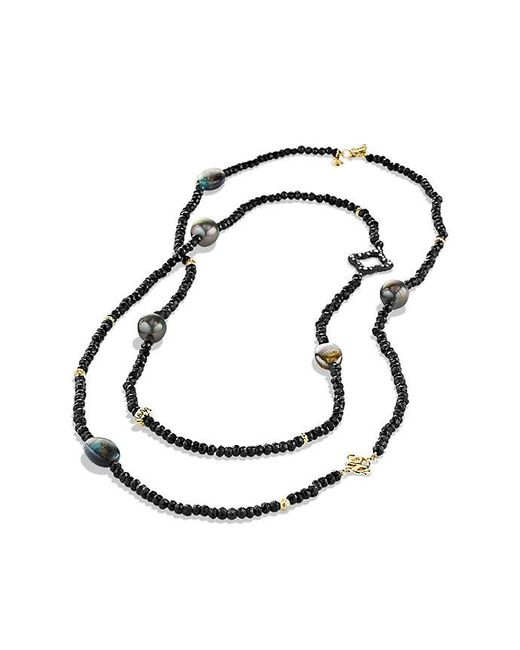 David Yurman | Dy Signature Bead Necklace With Black Spinels,gray Pearls And 18k Gold | Lyst