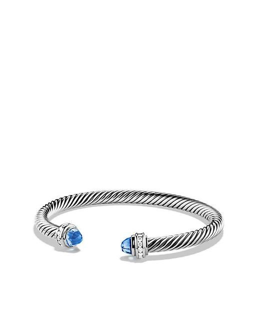 David Yurman | Cable Classics Bracelet With Blue Topaz And Diamonds, 5mm | Lyst