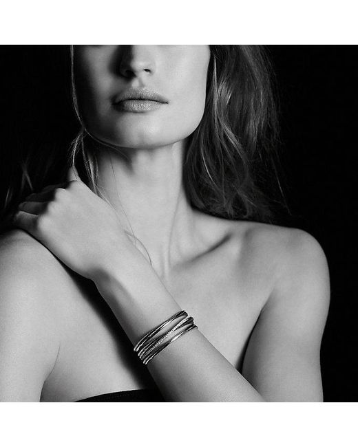 David Yurman   Metallic Crossover Four-row Cuff Bracelet With Diamonds, 23mm   Lyst