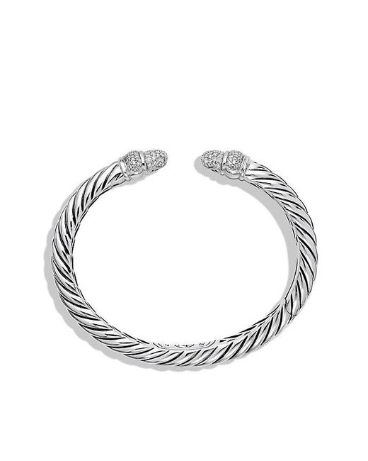 David Yurman | Metallic Sculpted Cable Bracelet With Diamonds, 5mm | Lyst