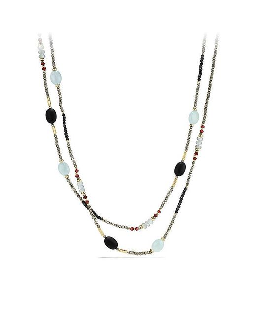 David Yurman - Metallic Dy Signature Bead Necklace With Pyrite, Aquamarine And Black Spinel In 18k Gold - Lyst