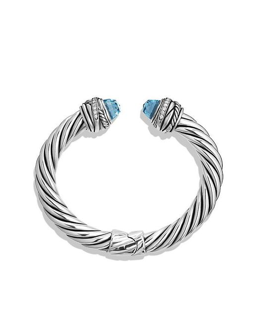 David Yurman | Cable Classic Crossover Bracelet With Blue Topaz And Diamonds, 8.5mm | Lyst