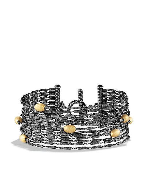David Yurman | Metallic Chain Fifteen-row Bracelet With 18k Gold | Lyst