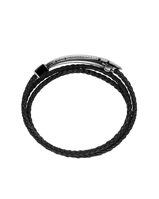 David Yurman | Feather Triple-wrap Bracelet In Black Leather With Black Onyx for Men | Lyst