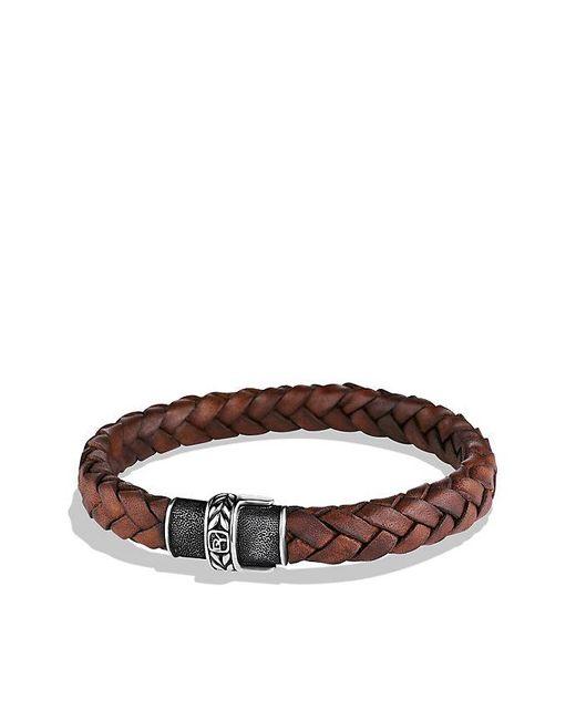 David Yurman | Chevron Narrow Woven Leather Bracelet In Brown, 8mm for Men | Lyst
