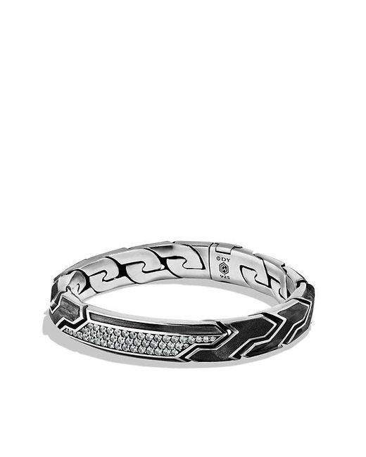 David Yurman | Forged Carbon Id Bracelet With Gray Sapphires for Men | Lyst