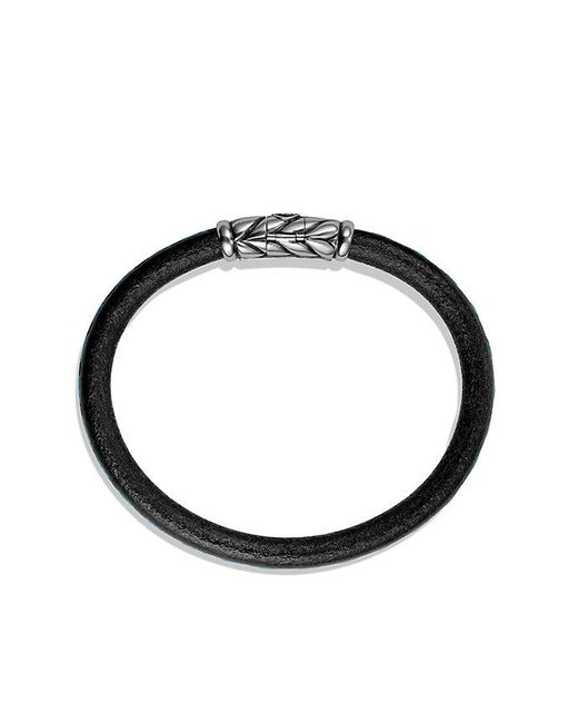 David Yurman | Black Chevron Leather Bracelet In Blue for Men | Lyst