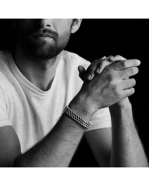 David Yurman   Black Forged Carbon Honey Comb Bracelet In Silver for Men   Lyst