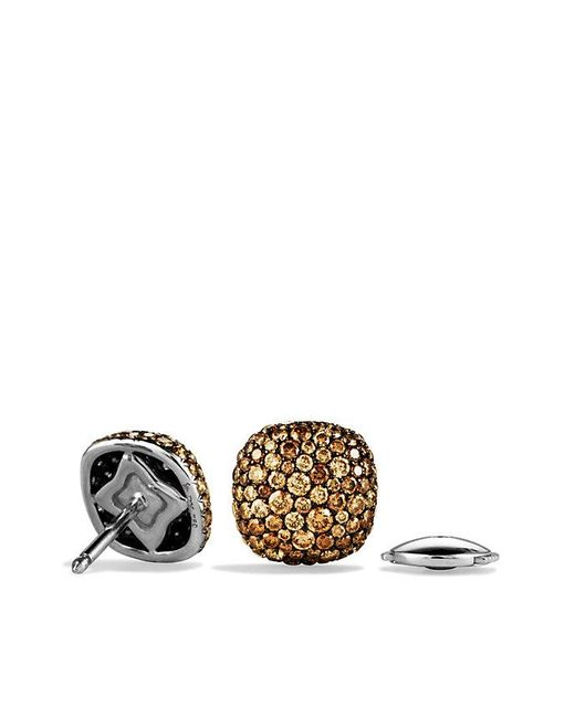 David Yurman | Brown Pavé Earrings With Cognac Diamonds In 18k White Gold | Lyst