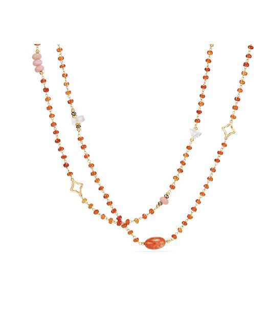 David Yurman - Metallic Long Bead And Chain Necklace With Sun Stone, Morganite And Hessonite Garnet In 18k Gold - Lyst