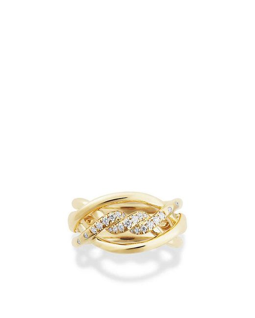 David Yurman - Metallic Continuance Ring With Diamonds In 18k Gold, 11.5mm - Lyst