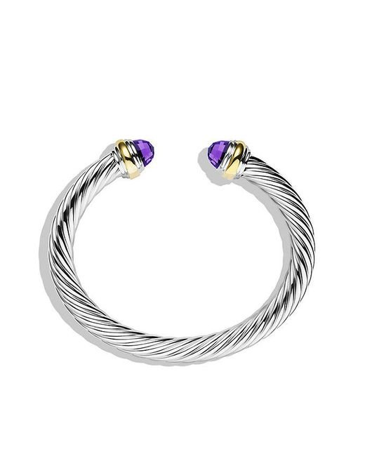 David Yurman | Metallic Cable Classics Bracelet With Amethyst And 14k Gold, 7mm | Lyst