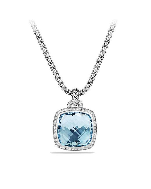 David Yurman | Albion® Pendant With Blue Topaz And Diamonds, 17mm | Lyst
