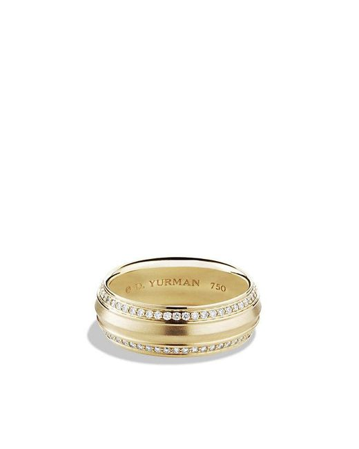 David Yurman - Metallic Knife Edge Band Ring With Diamonds In 18k Gold, 8mm - Lyst
