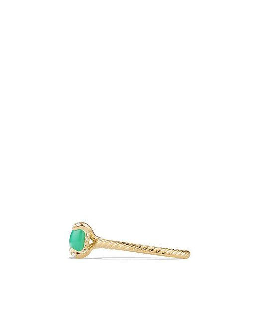 David Yurman | Metallic Chatelaine Ring With Chrysoprase And Diamonds In 18k Gold, 7mm | Lyst