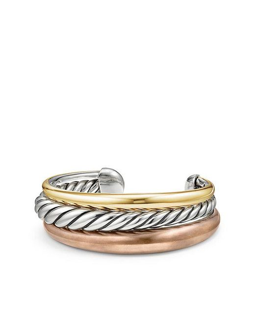 David Yurman - Metallic Pure Form® Mixed Metal Three-row Cuff With Bronze, Silver And Bronze, 24mm - Lyst
