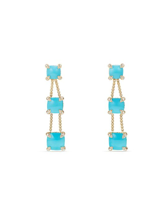 David Yurman - Blue Chatelaine® Linear Chain Earrings With Turquoise And Diamonds In 18k Gold - Lyst