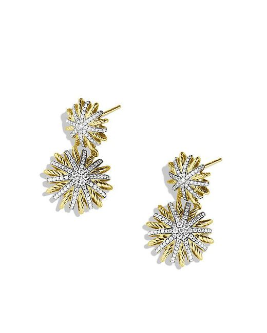 David Yurman - Metallic Starburst Double-drop Earrings With Diamonds In 18k Gold - Lyst