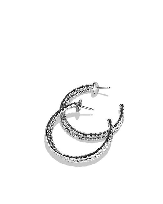 David Yurman | Crossover Hoop Earrings With Diamonds In 18k White Gold | Lyst