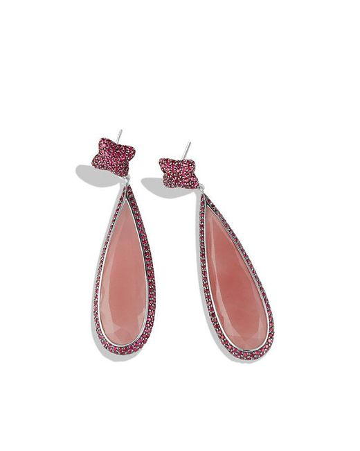 David Yurman | Pink Quatrefoil Drop Earrings With Guava Quartz And Ruby In 18k White Gold | Lyst