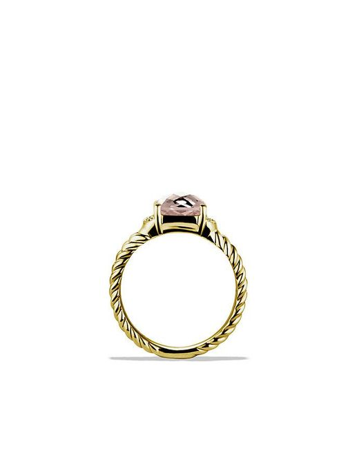David Yurman - Yellow Petite Wheaton Ring With Morganite And Diamonds In 18k Gold - Lyst