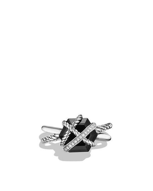 David Yurman | Cable Wrap Ring With Black Onyx And Diamonds | Lyst