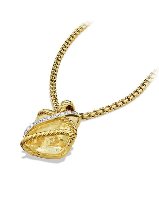 David Yurman | Metallic Cable Wrap Pendant With Champagne Citrine And Diamonds In 18k Gold | Lyst