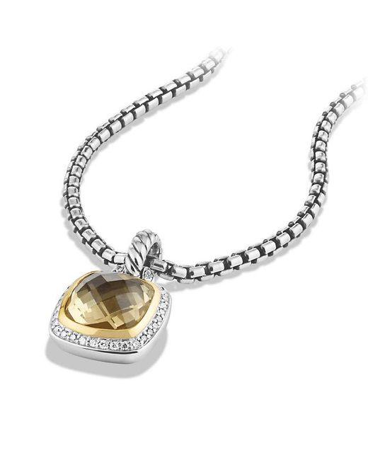 David Yurman | Metallic Albion Pendant With Champagne Citrine, Diamonds And 18k Gold, 11mm | Lyst