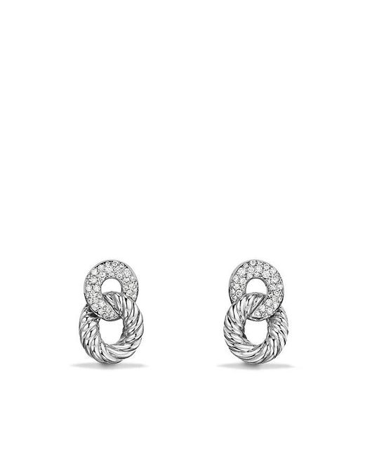 David Yurman - Belmont Extra-small Curb Link Drop Earrings With Diamonds In 18k White Gold - Lyst