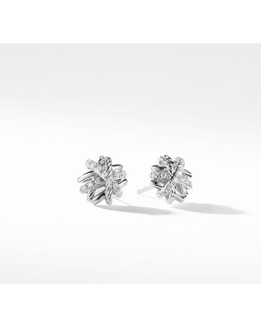David Yurman - Multicolor Crossover Earrings With Diamonds, 11mm - Lyst
