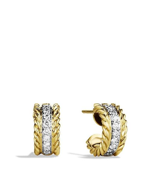 David Yurman | Metallic Cable Classics Earrings With Diamonds In 18k Gold | Lyst