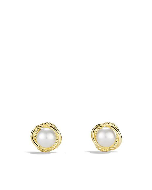 David Yurman | Metallic Infinity Earrings With Pearls In 18k Gold | Lyst