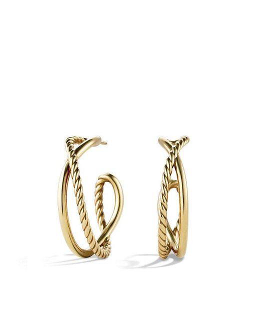 David Yurman | Metallic Crossover Hoop Earrings In 18k Gold | Lyst